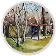 Autumn Shed Round Beach Towel