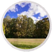 Autumn Skies Round Beach Towel