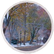 Autumn Snow Round Beach Towel by James BO  Insogna