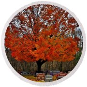 Autumn Somnolence  Round Beach Towel