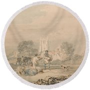 Autumn Sowing Of The Grain Round Beach Towel