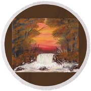 Autumn Stream Round Beach Towel