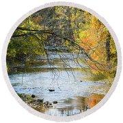 Autumn Stream Reflections Round Beach Towel