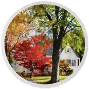 Autumn Street With Red Tree Round Beach Towel