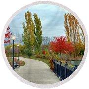 Autumn Stroll In The Park Round Beach Towel