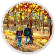 Autumn  Stroll On Mount Royal Round Beach Towel