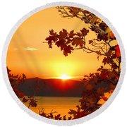 Autumn Sunrise Round Beach Towel