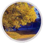 Autumn Sunrise In The Country Round Beach Towel