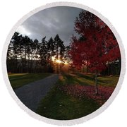 Autumn Sunset, Shawnigan Lake Round Beach Towel