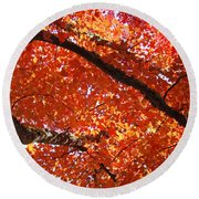 Autumn Tree Art Prints Orange Red Leaves Baslee Troutman Round Beach Towel