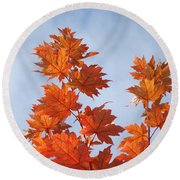 Autumn Tree Leaves Art Prints Blue Sky White Clouds Round Beach Towel