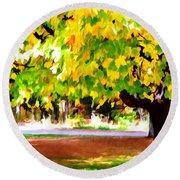 Autumn Trees 6 Round Beach Towel
