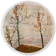 Autumn Trees Round Beach Towel by Egon Schiele