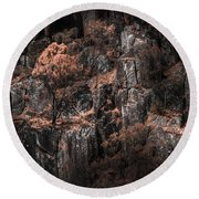 Autumn Trees Growing On Mountain Rocks Round Beach Towel