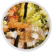 Autumn Trees In The Fog Round Beach Towel