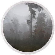 Autumn Trees In The Mist Round Beach Towel