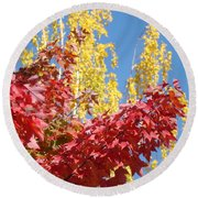 Autumn Trees Red Yellow Fall Tree Blue Sky Landsape Round Beach Towel