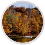 Autumn Trees Round Beach Towel