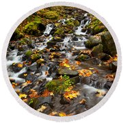 Autumn Tumbles Down Round Beach Towel