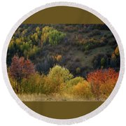 Autumn Valley Round Beach Towel