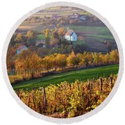 Autumn View Of Church On The Rural Hills Round Beach Towel