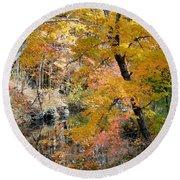 Autumn Vintage Landscape 6 Round Beach Towel