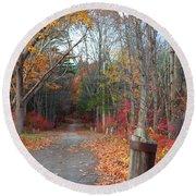 Autumn Walk At West Thompson Lake  Round Beach Towel