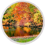 Autumn Warmth Round Beach Towel