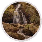Autumn Waterfall In The Great Smoky Mountains Round Beach Towel