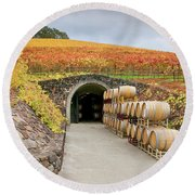 Autumn Wine Cave Round Beach Towel