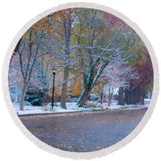 Autumn Winter Street Light Color Round Beach Towel by James BO  Insogna