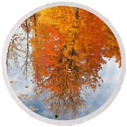 Autumn With Colorful Foliage And Water Reflection 19 Round Beach Towel