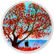 Together In Autumn  Round Beach Towel