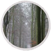 Autumn Woodland Avenue Round Beach Towel