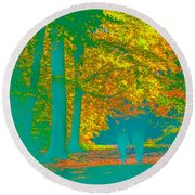 Autumn Woodland Walk Turquoise Round Beach Towel