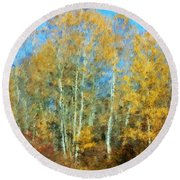 Autumn Woodlot Round Beach Towel