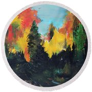 Autumnal Colors Round Beach Towel