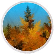 Autumnal Forest Round Beach Towel