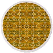 Autumnal In Earth Tones Round Beach Towel
