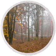 Autumnal Mist Round Beach Towel