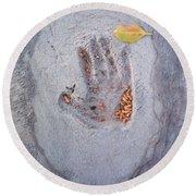 Autumns Child Or Hand In Concrete Round Beach Towel