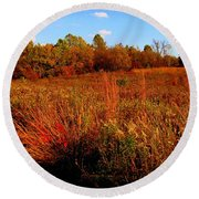 Autumns Field Round Beach Towel