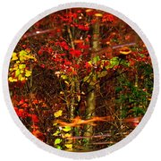 Autumns Looking Glass 2 Round Beach Towel