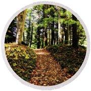 Autumn's Trail Round Beach Towel