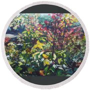 Autumn's View Round Beach Towel