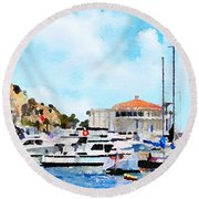 Avalon Casino Harbor, Catalina Round Beach Towel