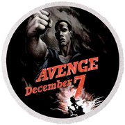 Avenge December 7th Round Beach Towel by War Is Hell Store