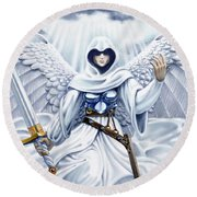 Avenging Angel Round Beach Towel