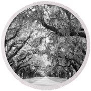 Avenue Of Oaks Charleston South Carolina Round Beach Towel