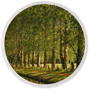Avenue Of Trees On The Kennet And Avon Canal Round Beach Towel